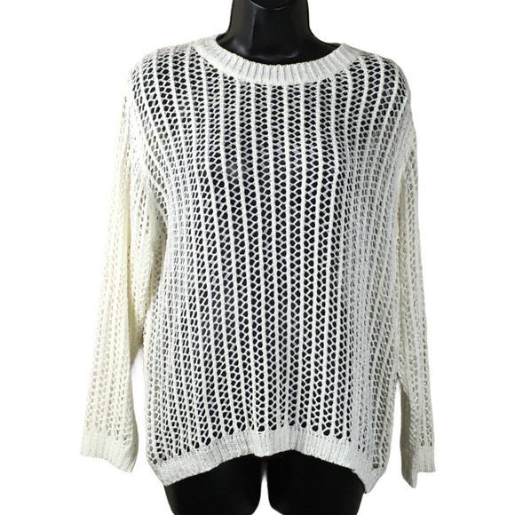 Dreamers Sweater Open Knit Crewneck Off-White S/M